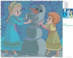 Schema punto croce Elsa e Anna - schemi punto croce gratis
