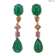Emerald Gemstone Dangle Earrings Solid 18 K Yellow Gold Genuine Diamond Jewelry #Handmade #DropDangle