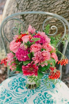 Brightly coloured spring wedding bouquet by Chanele Rose Flowers