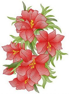 Fiery bouquet machine embroidery design. Machine embroidery design. www.embroideres.com