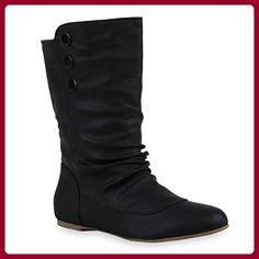 Stiefelparadies Basic Damen Overknees Schleifen Stiefel Samt Flach Langschaftstiefel Overknee Boots Blockabsatz Schuhe 144222 Rot Gold 38 Flandell 8s53RKs