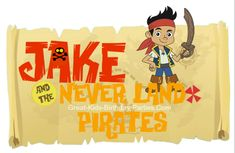 Jake and the Never Land Pirates FREE FONT. Download and make invitations, party labels, name tags, stickers, party favor labels and lots more.