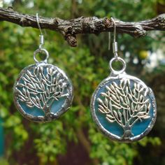 Stained Glass Tree Earrings  Light Blue Glass and Olive by Tocasol