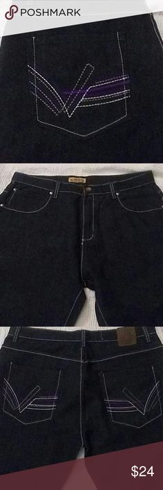 NWOT Mens Urban Label Jeans 36/32 New without tags. Mens Darkwash Straight/bootcut fit. 36 waist and 32 length or inseam. Purple, White, and Grey threaded design on back pockets. Very nice and great quality jeans. Urban Label Jeans Straight