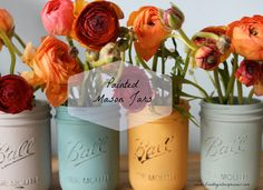 Silver Pennies: Painted Mason Jars.  Quick and Easy craft!