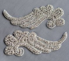 2 pcs Mirror Pair Rhinestone Applique Bridal by yourperfectgifts, $18.98