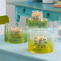 This season, breathe new life into your space with beautiful blown glass in refreshing shades of green, yellow or clear. Candle holder is reversible and features space to personalize each display with your own added touches. Includes leveling beads. PartyLite Summer 2017