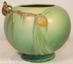 Roseville Pottery Pine Cone Green Vase 261-6 image