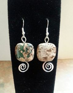 Lovely Ocean Jasper Swirl Earrings by WolfMountainJewelry on Etsy