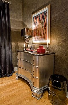 """L'Autre Regard Deco "" by Luka Deco Design © (Philippe by Luka Decoration, via Behance Metallic Painted Furniture, Painting Antique Furniture, Silver Furniture, Metal Furniture, Bedroom Furniture, Furniture Design, Metallic Dresser, Silver Dresser, Refinished Furniture"