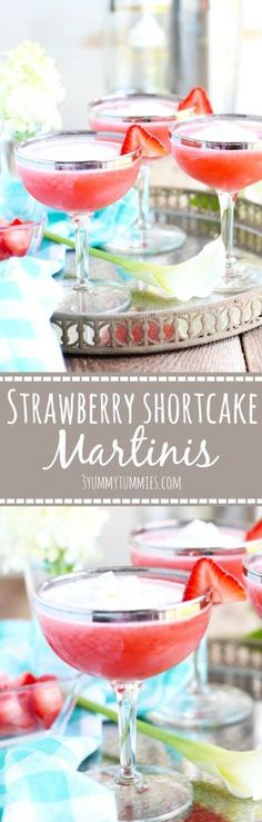 These Strawberry Shortcake Martinis are refreshing for summertime with fresh strawberry puree and Whipped Cream Vodka...super easy and delicious!