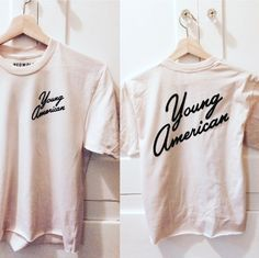 - Young American Tee - Available in Vintage White - 50% Polyester/ 50% Cotton - Sizes S, M, L - Made in USA - Each shirt is made to order- Please allow one week for you shirt's creation, not including
