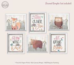Girls Nursery Bedroom Art Prints Stay Clever Fox Be Brave Bear Grow Wise Owl Peach Pink Brown Gray Set of 6 Unframed Paper Prints Pink Brown, Brown And Grey, White Wood Table, Into The Woods Quotes, Bedroom Artwork, Coaster Design, Wise Owl, Girl Nursery, Fine Art Paper