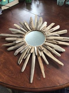 attempt at a driftwood mirror. Nailed it, literally!My attempt at a driftwood mirror. Nailed it, literally! Driftwood Wreath, Driftwood Mirror, Driftwood Projects, Driftwood Ideas, Rope Mirror, Driftwood Sculpture, Beach Crafts, Beach Art, Halloween Diy