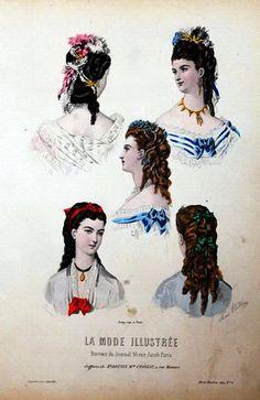 "Hairstyles illustration from ""La Mode Illustrée"", 1860."