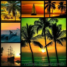 Hawaiian Sunset Collage by Judy Waits