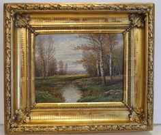 Antique landscape painting in gilt wood frame, oil on from chateau on Ruby Lane Ruby Lane, Antique Picture Frames, Antique Items, Landscape Paintings, Antique Silver, 19th Century, Oil On Canvas, Museum, Antiques