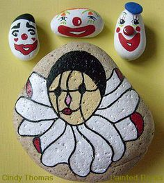 Clowning around with painted rocks. These clowns are available at http://handpaintedrocks.storenvy.com/