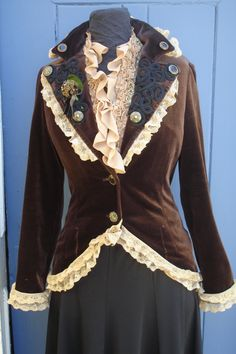 Brown and Gold Woman's Steampunk Fitted Jacket with by talamhruel. , via Etsy.