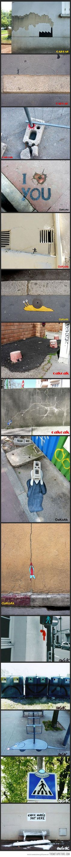 Interesting graffiti. Anyone bored with gang tags? C'mon people, spruce it up. Urban Interventions by OakOak