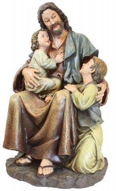 """Jesus with Children Statue - 29"""" - Multi-Color"""