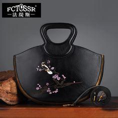 Retro Genuine Leather Top Handle Casual Tote Handmade Women Handbag Rivet Cow Leather Shoulder Bag Printing Women Messenger Bag