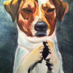 """""""Praying Puppy"""" watercolor on paper. By Julie Murphy"""