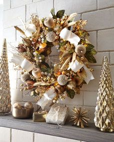Shop Glimmer Gold Prelit Wreath 28 At Horchow Where You