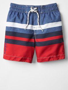 Multi-color stripe swim trunks Product Image