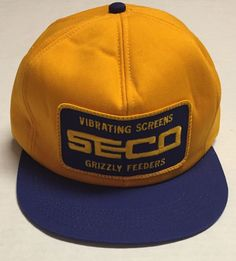 Vtg Seco Trucker Hat Vibrating Screens Grizzly Feeders Cap USA Made Construction #KProducts #TruckerHat