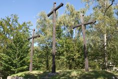 The crosses were erected on the hill above Karlsbad (Karlovy Vary) as a symbol of successful recatholization of the town and its surrounding area.