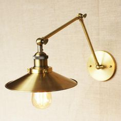 Brass Cone Shade Wall Light With Long Arm #brass #wall-light #wall-sconce