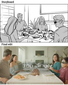 Family gather at dinner. Storyboard from Qualcomm Snapdragon Xr2 5G Platform. _ #film #filmphotography #sequence #movies #moviescene #moviescenes #makingmovie #makingfilm #moviemaking #storyboard #artist #storyboarding #storyboards #drawing #drawings #films #filmdirector #director #filmcrew #filmmaking #filmmaker #preproduction #conceptart #filmproduction #illustrator #illustration