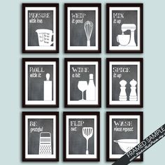Funny Kitchen Art Print Set Set of 9 5x7 Art by KITCHENBATHPRINTS, $76.75