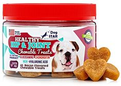 Glucosamine Chondroitin MSM and Hyaluronic Acid Soft Chews 95 ounce jar contains 65 Bacon Flavored Joint Supplement Treats for Dogs  Our Joint Chews Make It Easy to Swallow Unlike Pills or Powders -- More info could be found at the affiliate link Amazon.com on image.