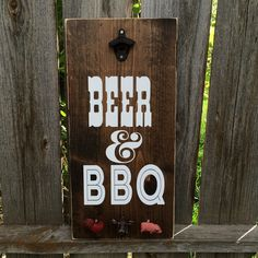 Beer and BBQ- Man Cave- Back Deck- Grilling utensil holder- bottle opener- back deck decor- Fathersday- Gift for him by CraftingWithMama on Etsy https://www.etsy.com/listing/361482681/beer-and-bbq-man-cave-back-deck-grilling