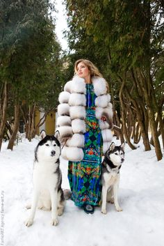 Fox fur coat and sled dogs.