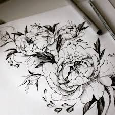 Image result for peony tattoo black and white