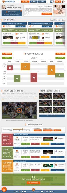 GameTimes - User Dashboard view