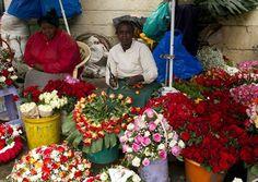 Kenya.  Flower seller in Nairobi city market.