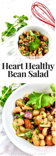 THIS BEAN SALAD IS DELICIOUS! Perfect year round, this fibre-rich salad is a great way of incorporating legumes into your diet. This can be served as a side dish, perfect for potlucks or to make it a main for lunch serve it over spiralized cucumbers. | Legume Salad | Easy Salad | Picnic Salad | www.salads4lunch.com #saladrecipe #beansalad #legumesalad #hearthealthy