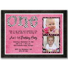 Zebra 1st Birthday Photo Cards Invitations for Girls Birthday Party. $22.00, via Etsy.
