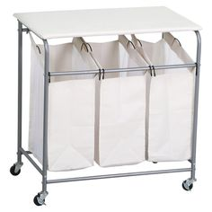 Laundry Basket Hamper Sorter Clothes Storage Folding Cart Bag Rolling Organizer    eBay