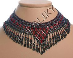 Ukrainian Handmade NECKLACE Gerdan Black /Red or Black door koraliky