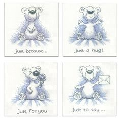 Pack of 4 'Justin' Teddy Bear Cards, cross stitch kits by Heritage Crafts.
