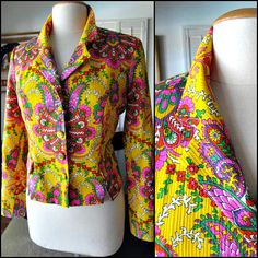 San Francisco Jacket / Hippie Jacket / Vintage Psychedelic Jacket / San Francisco Clothing Jacket / fits M / neon print jacket by OGOvintage on Etsy