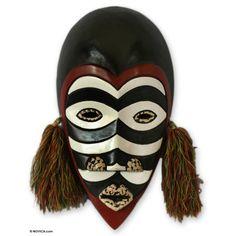 Novica Daniel Asante Zebra Monkey African Sese Wood Mask Wall Decor