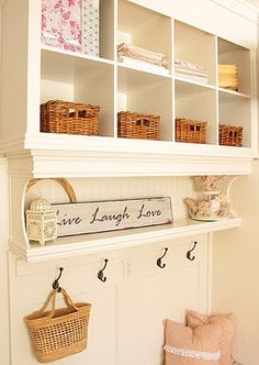 How to take two bookshelves and turn them into a mudroom wall unit. Nice use of moldings under the shelves. Entry Closet, Mudroom, Home Organization, Home Projects, Bookshelves, Diy Furniture, Room Decor, Wall Decor, Home Improvement