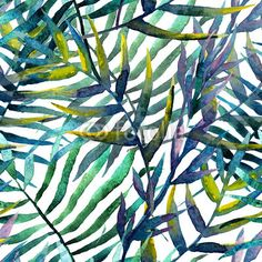 """Wall Mural """"isolated, popular, wallpaper - leaves abstract pattern wallpaper watercolor"""" ✓ Wide Selection of Materials ✓ 100% Green Print ✓ Check Out the Reviews!"""
