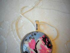 Vintage rose fabric pendant